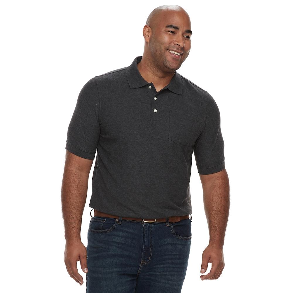 Big Tall Croft Barrow Regular Fit Pique Pocket Polo Men S