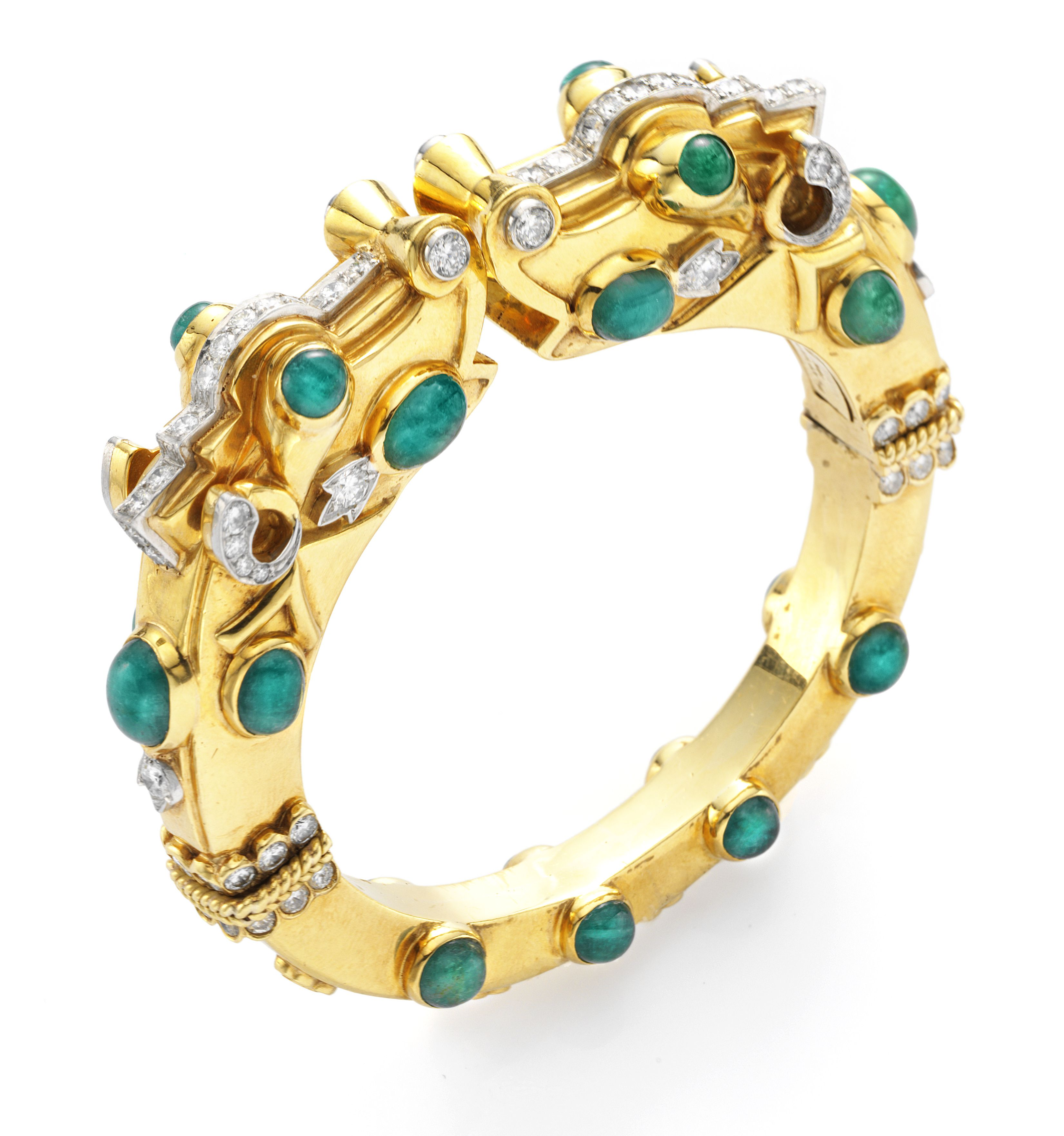 David webb an emerald diamond and gold bangle bracelet by david