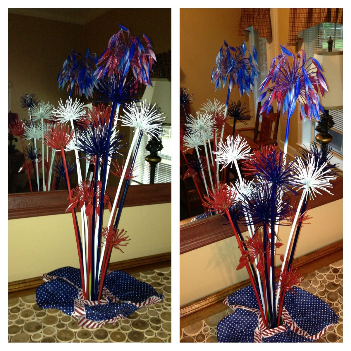 My fireworks display made from expired agapanthus blooms from my flower bed.  I love spray paint!