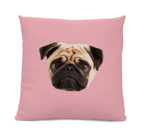 Pug Face Pillow - Pug Home Decor Living Room- dog pillow - dog home ...