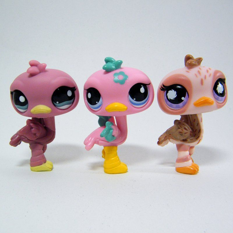 Littlest Pet Shop pink Ostrich pets # 945, 1045 and 2349 from Pretty Pairs, Funniest Pets and Postcard Pets