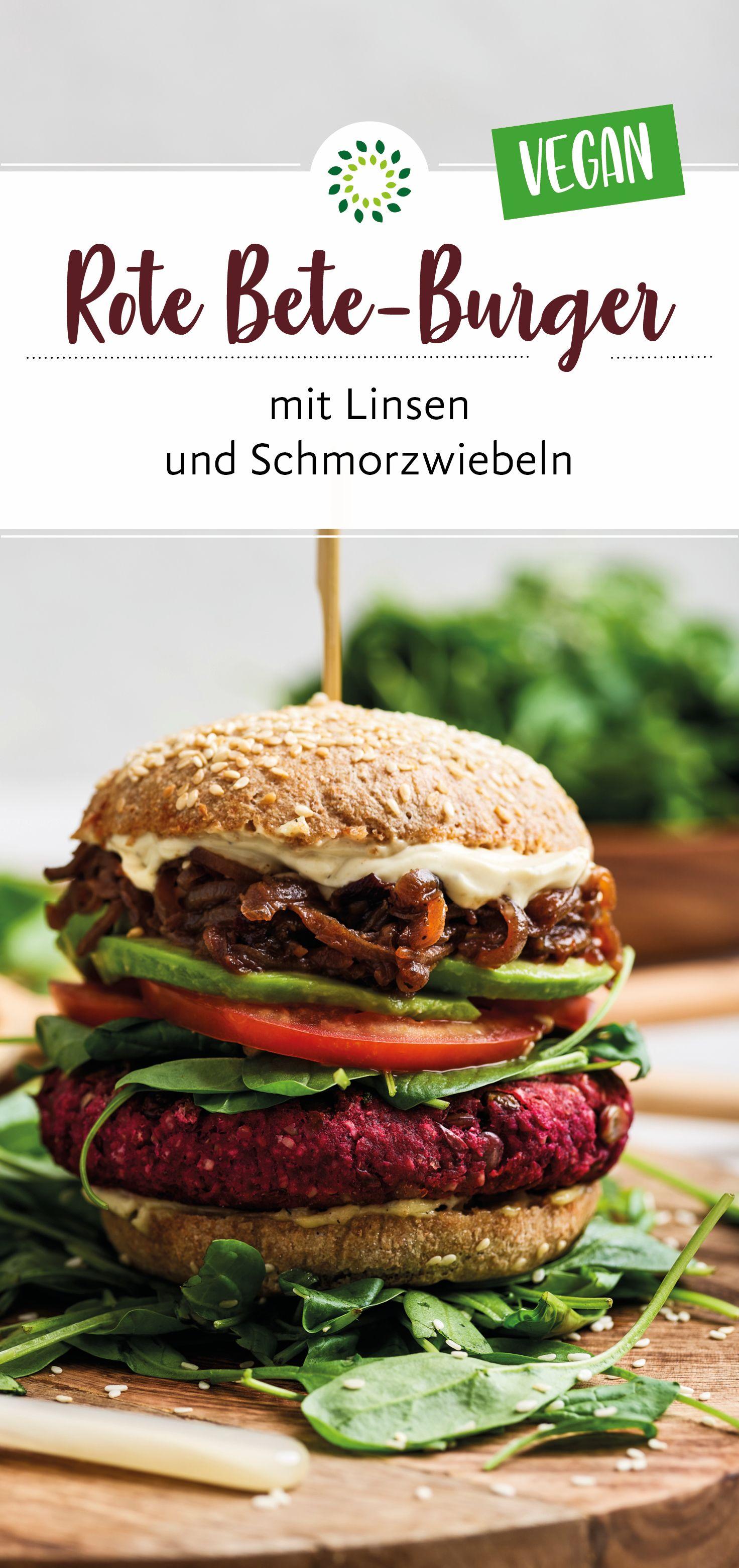 Rote Bete-Burger mit Linsen und Schmorzwiebeln  #hamburgermeatrecipes