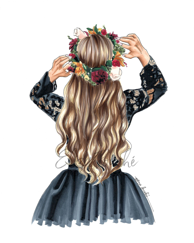 Photo of Hair illustration – fashion illustration – Fashion art print – best friend gift – gifts for her – hair art – feminine wall art – custom