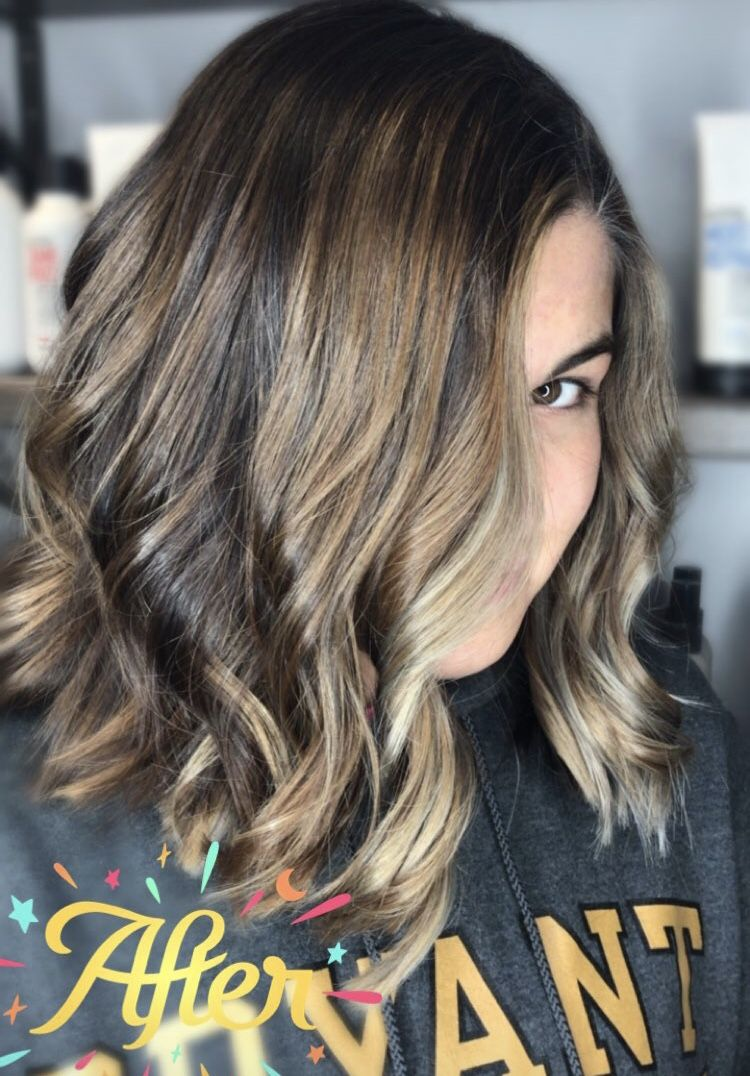 Brunette Balayage Painted Hair Watercolor Salon In East Lyme Ct