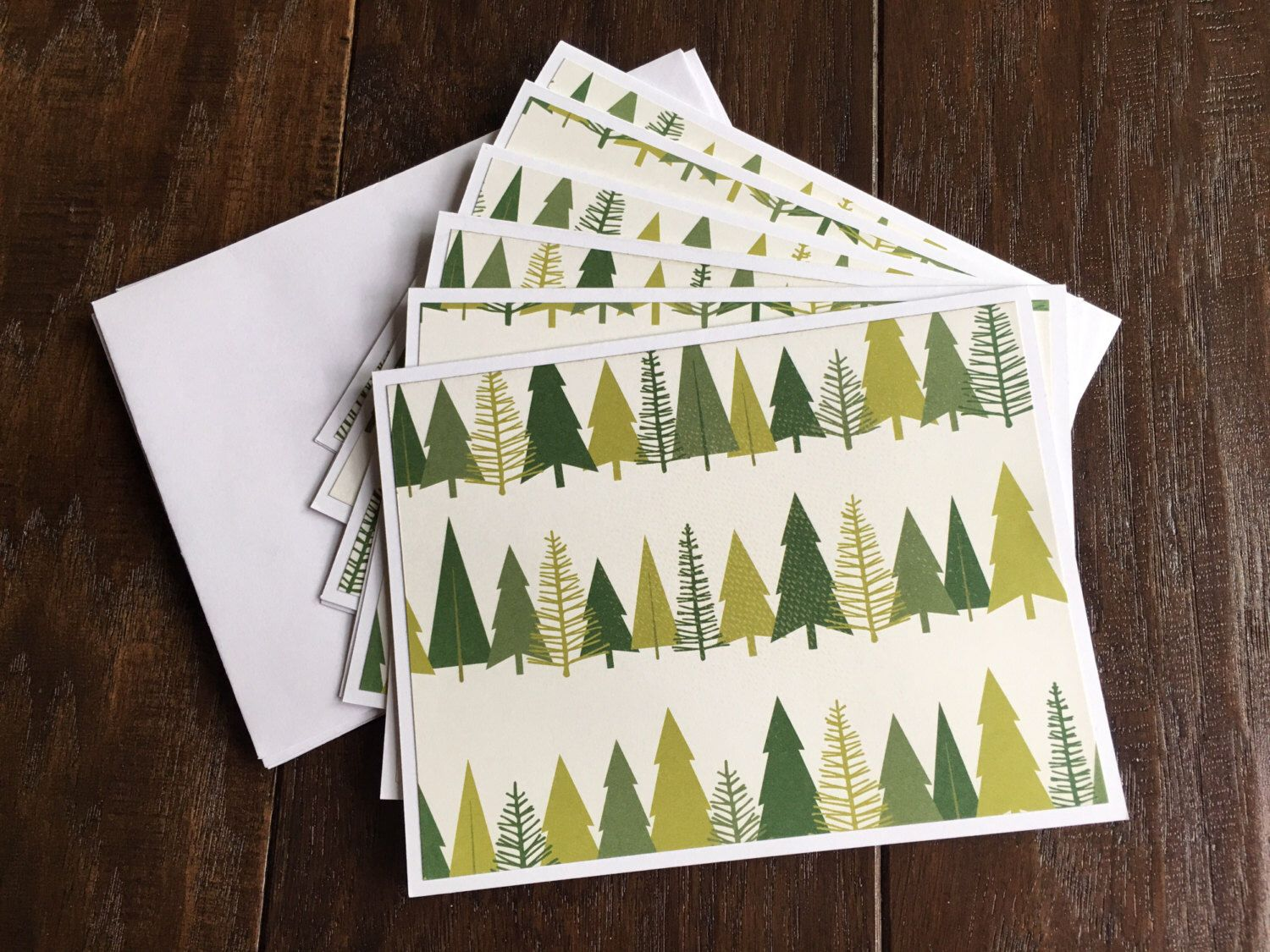 Set of 6 Tree Modern Handmade Note Cards Shades of Green Blank Inside everyday greeting cards with envelopes by thehappymailpaperie on Etsy https://www.etsy.com/listing/477948425/set-of-6-tree-modern-handmade-note-cards