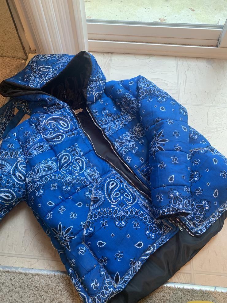 Blue Bandana Puffer Jacket In 2020 Puffer Jackets Diy Jacket Jackets Men Fashion