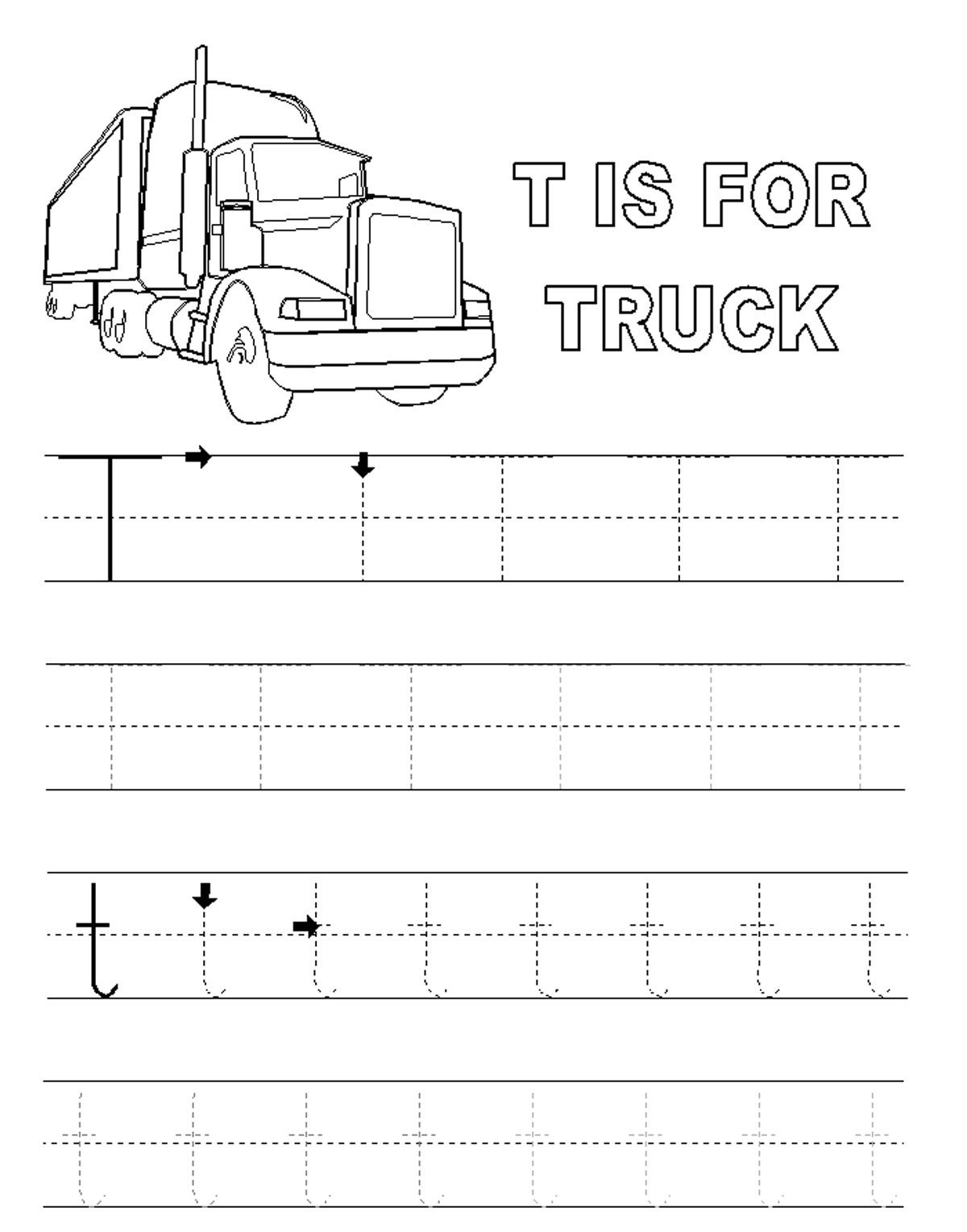 Alphabet Tracer Pages T Truck