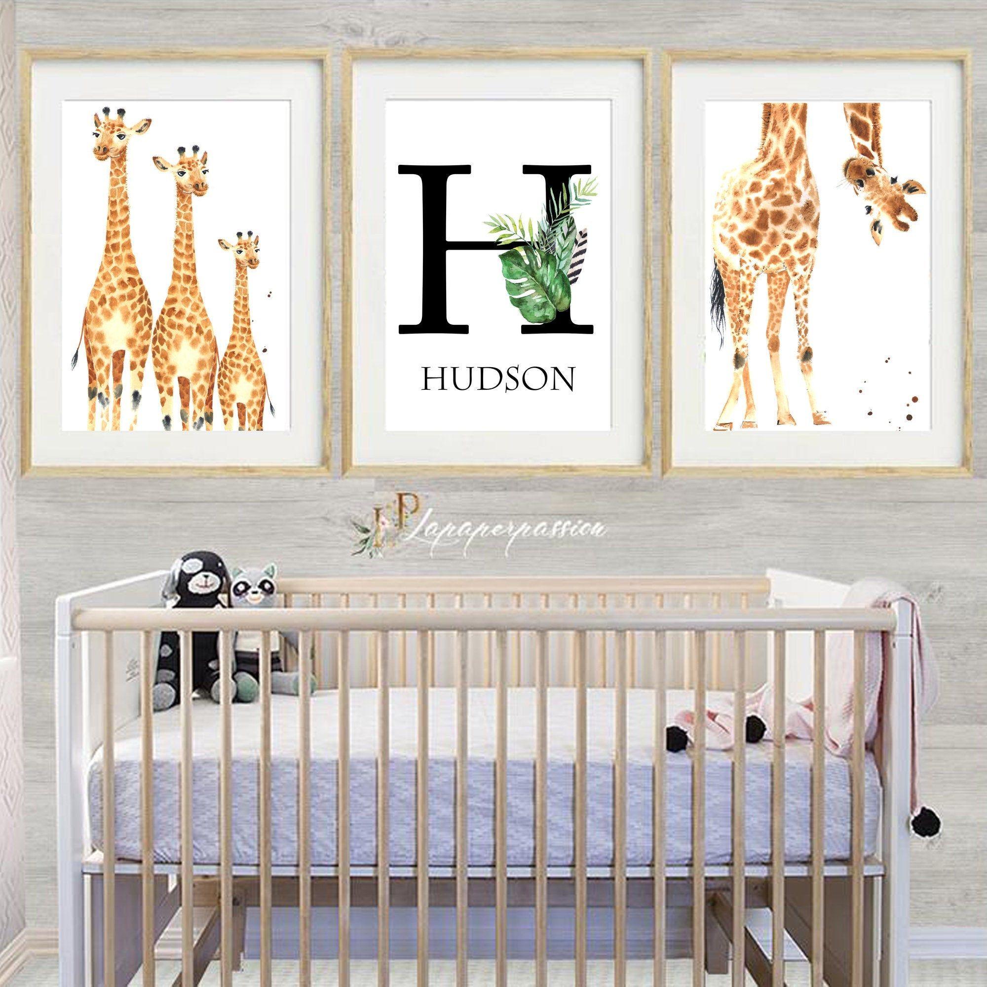 Printed Giraffe Nursery Prints Nursery Wall Art Customised Name Safari Nursery Jungle Nursery Prints Giraffe Nursery Prints Giraffe Nursery Nursery Prints
