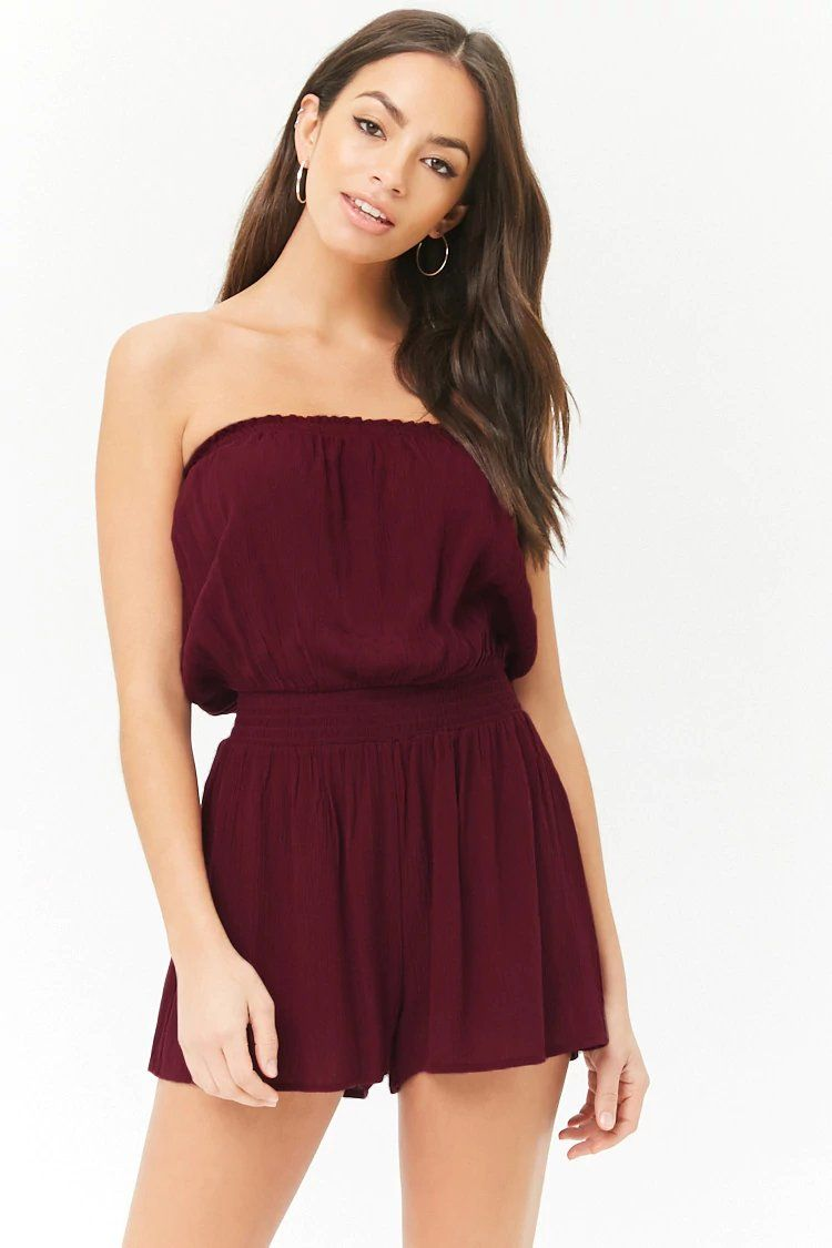 Product Name Smocked Strapless Romper Category Dress Price 12 9 Strapless Romper Outfit Forever 21 Outfits Summer Fashion Clothes Women [ 1125 x 750 Pixel ]