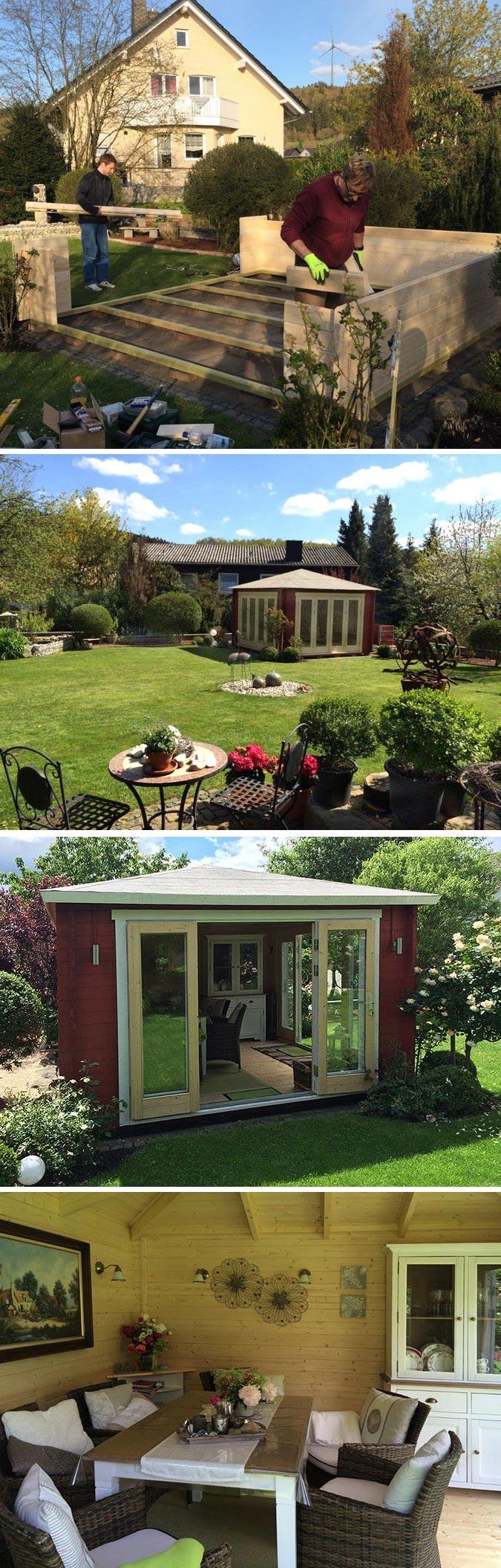 ein gartenhaus mit weitem ausblick sunshine 40 wird aufgebaut die besten kundenprojekte. Black Bedroom Furniture Sets. Home Design Ideas