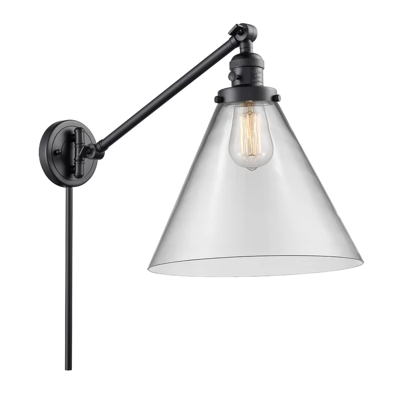 Photo of Irene Vintage Cone 1-Light Dimmable Swing Arm Lamp