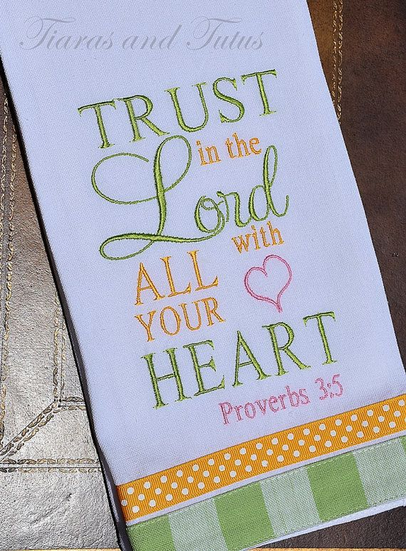 Kitchen Towel, Embroidered With Bible Verse, Linen, Bridal Shower Giftu2026