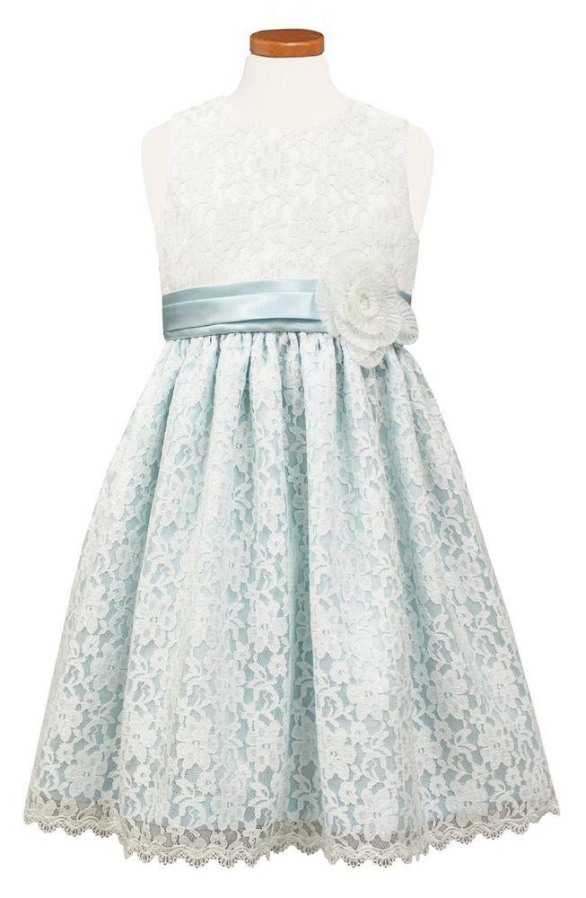 ed1314bbc56 Jayne Copeland Dress Girls Sleeveless Lace Blue White 3T Sorbet Party  Formal  JayneCopeland  FormalParty