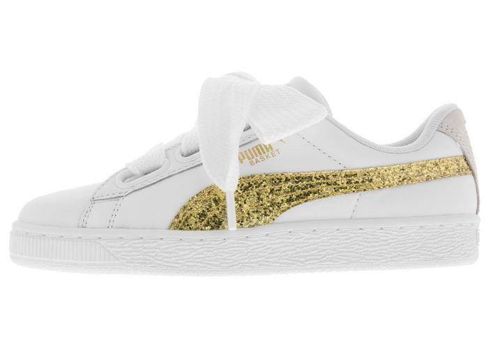 Puma Womens Basket Heart Glitter Puma White Gold - Free Shipping. Easy  Returns 426a6aea1