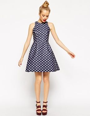 Enlarge ASOS Premium Bonded Mini Skater Dress in Spot Print