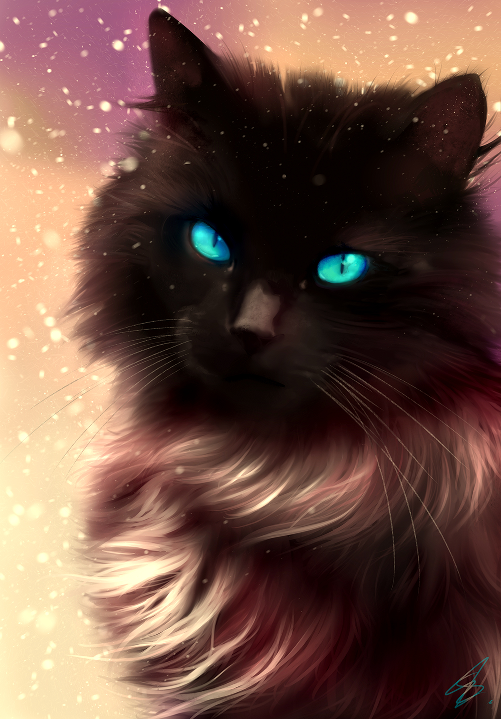 Cat Black Blue Eyes Christmas Snow Fur Beautiful Drawing Portrait