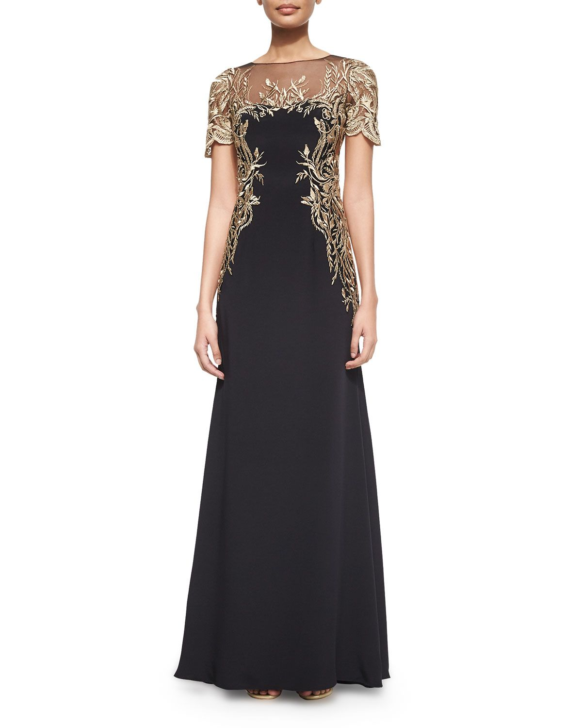 72330a78 Short-Sleeve Embroidered Gown, Women's, Size: 10, Black - Marchesa Notte