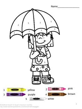 Spring Color by Code Math Centers Special Education Fine