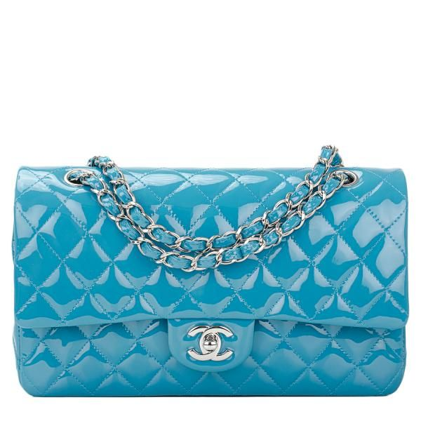 Chanel Classic Quilted Patent Large Double Flap Bag in Turquoise #chanel