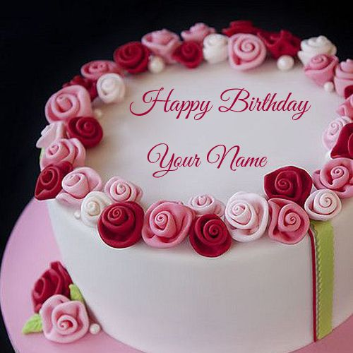 Beautiful Red and Pink Flower Birthday Cake With NameFloral Cake