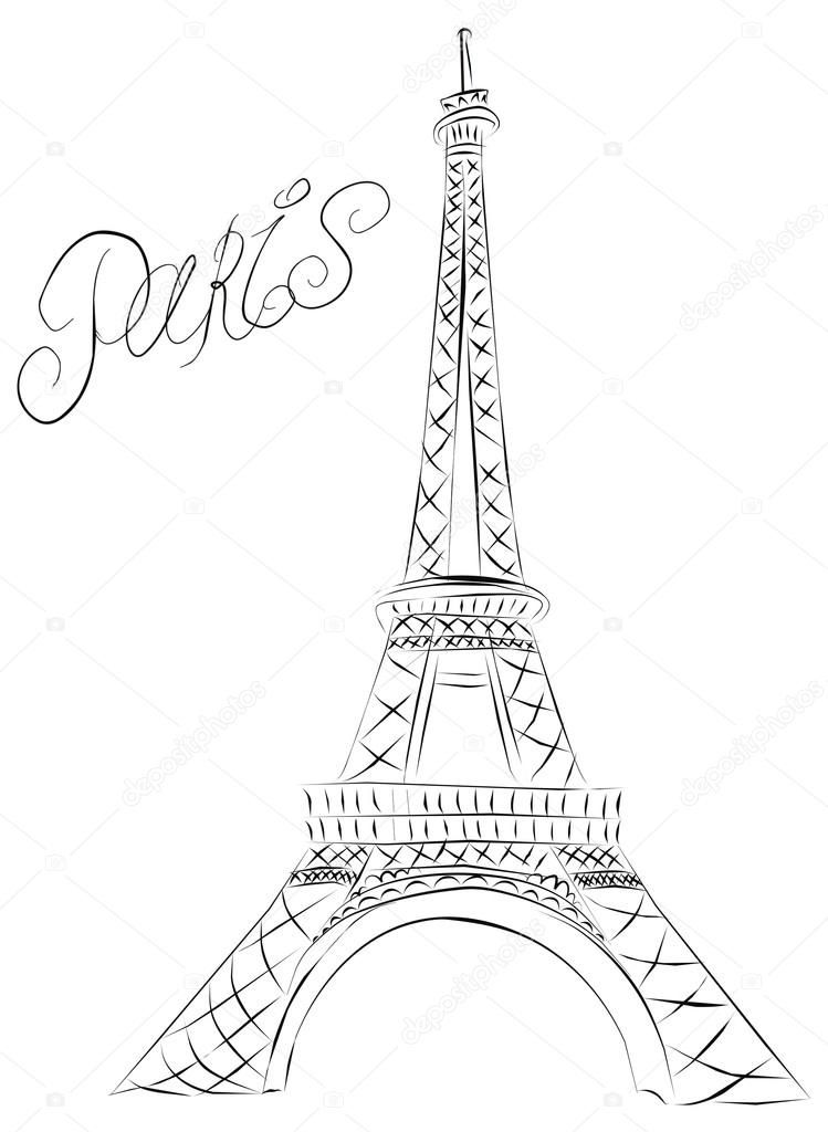 Vector sketch of the Paris Eiffel Tower. Paris in 2019