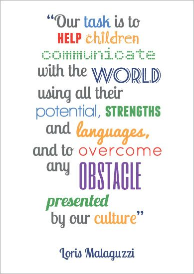 Inspirational Quotation Poster: Loris Malaguzzi 4 | Early childhood quotes, Childhood  quotes, Preschool quotes