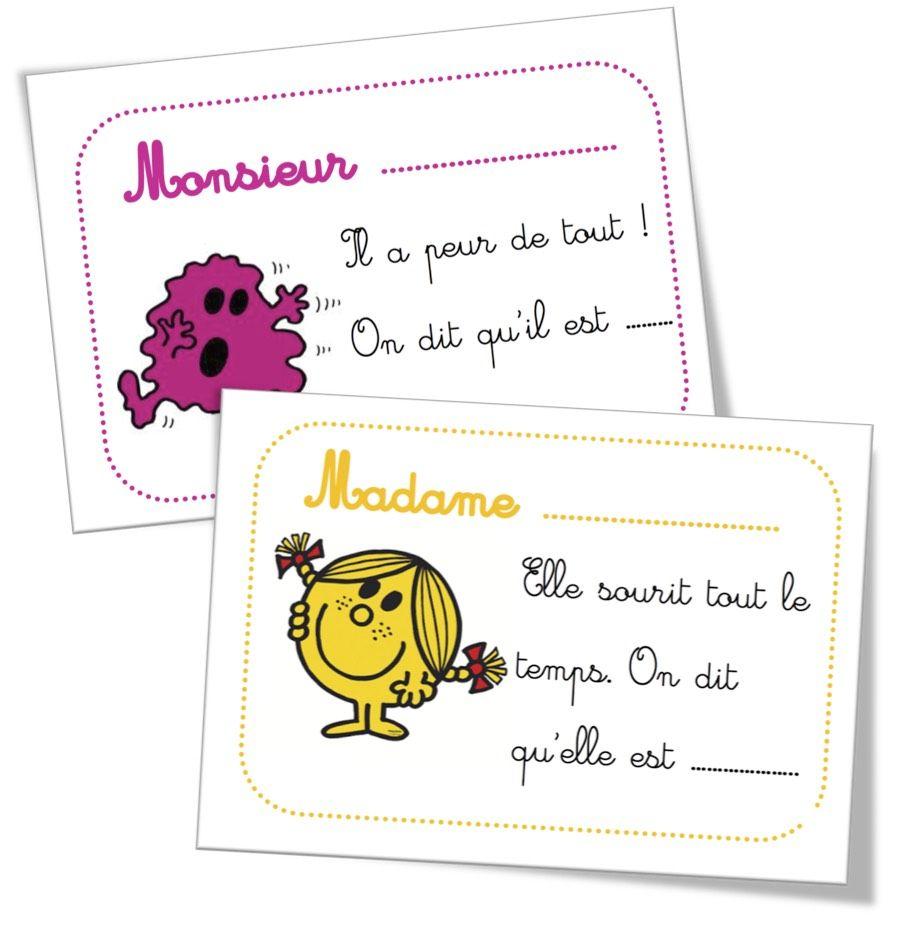 Cartes Devinettes    U00ab Les Adjectifs Monsieur Madame