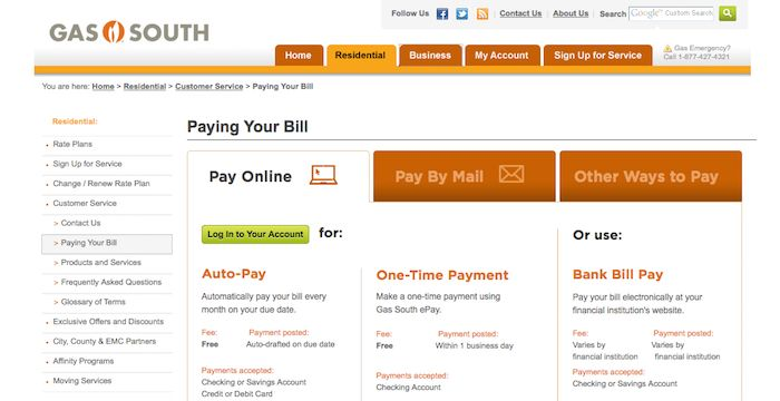 Gas South Bill Pay Online Login Customer Service Sign In