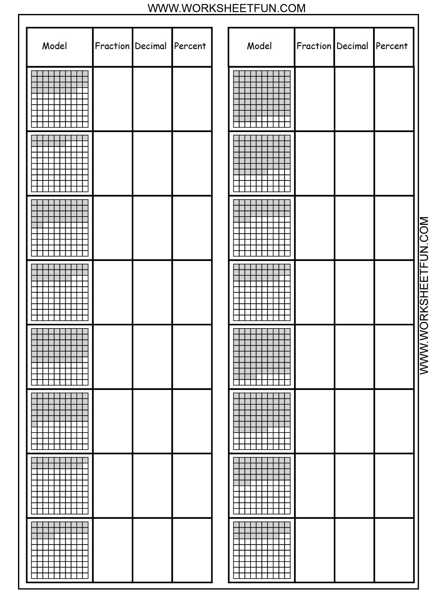 3 Conversion Worksheets Convert Between Percents Fractions