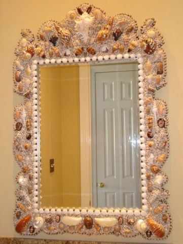 beach themed bathroom mirrors seashell mirror this for a themed powder room 17274