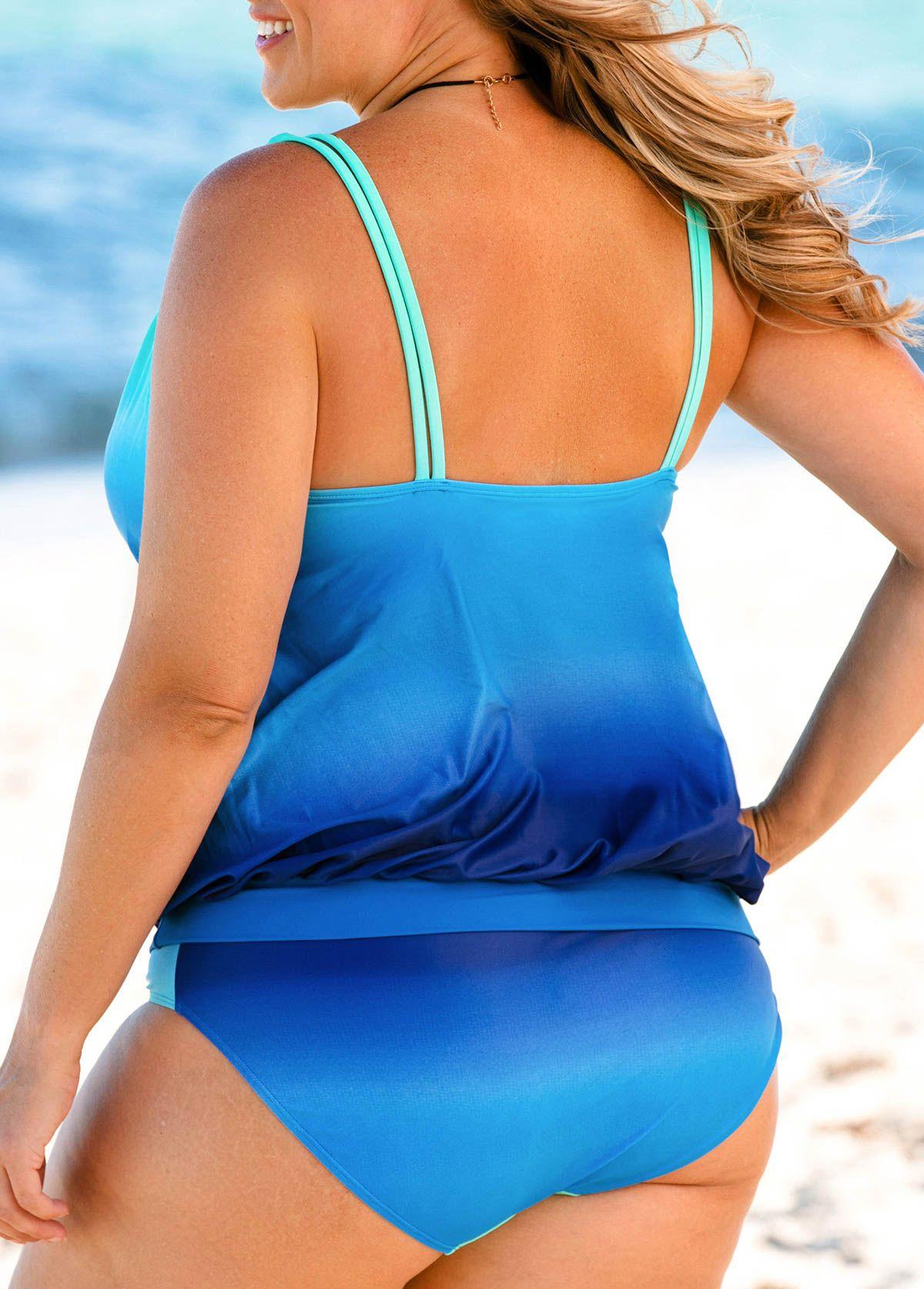 37b7031530020 Plus Size Open Back Gradient Tankini Set | Rosewe.com - USD $34.48 ...