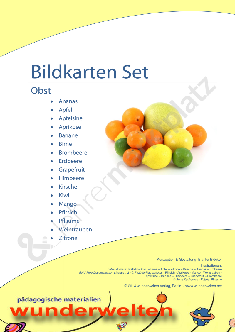 Obst - Bild-Wort-Karten - Fotokarten - Bildkarten - Ernährung – DaZ ...