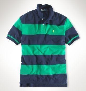 Ralph Lauren Custom-Classic Navy Green Stripe Mesh Cotton Polo is  fashionbale and comfortable.