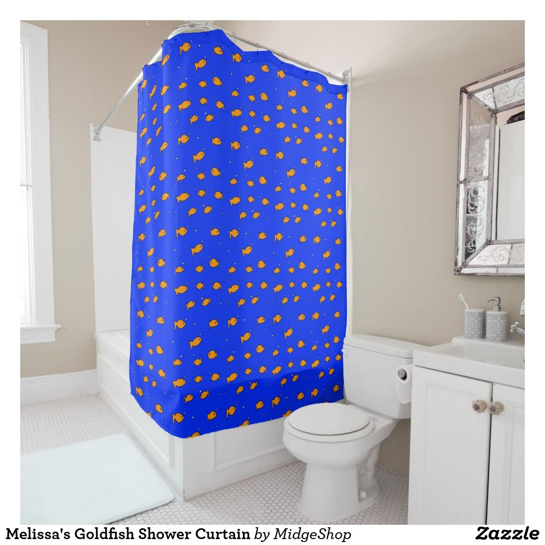 Melissa S Goldfish Shower Curtain Zazzle Com Yellow Shower