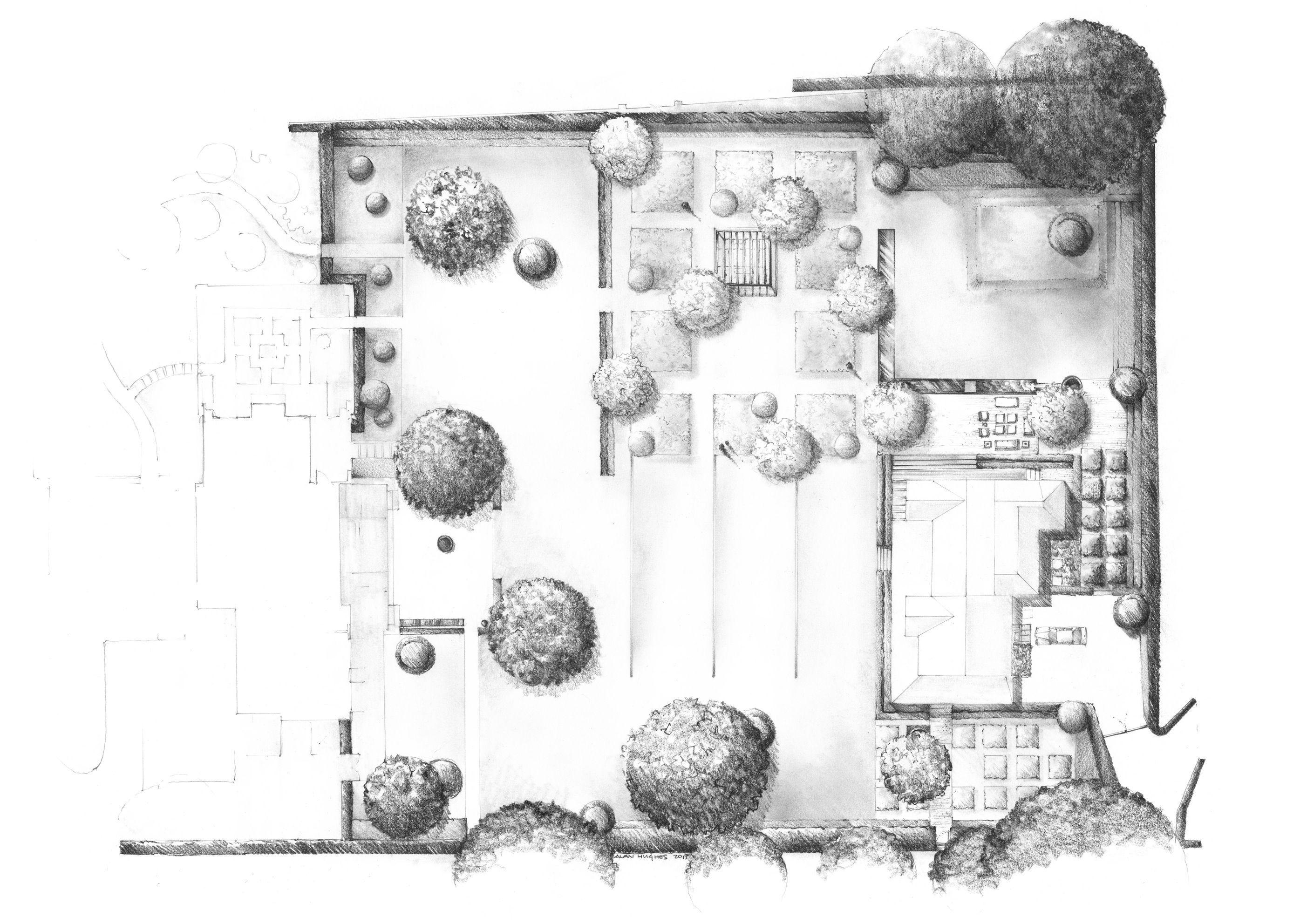 Plan for East Hampton Garden Luciano Giubbilei Pencil