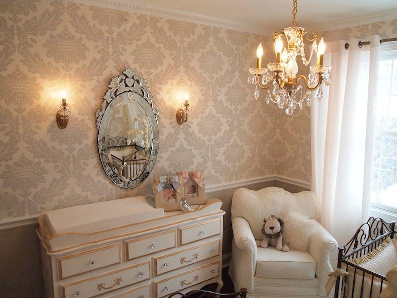 Twins Neutral Elegance Nursery Lavender Wallpaper and Walls