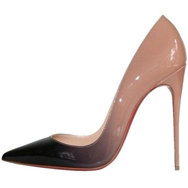 6798190431 Christian Louboutin So Kate 120 Degrade Ombre Black Patent Nude Pumps ($66)  ❤ liked