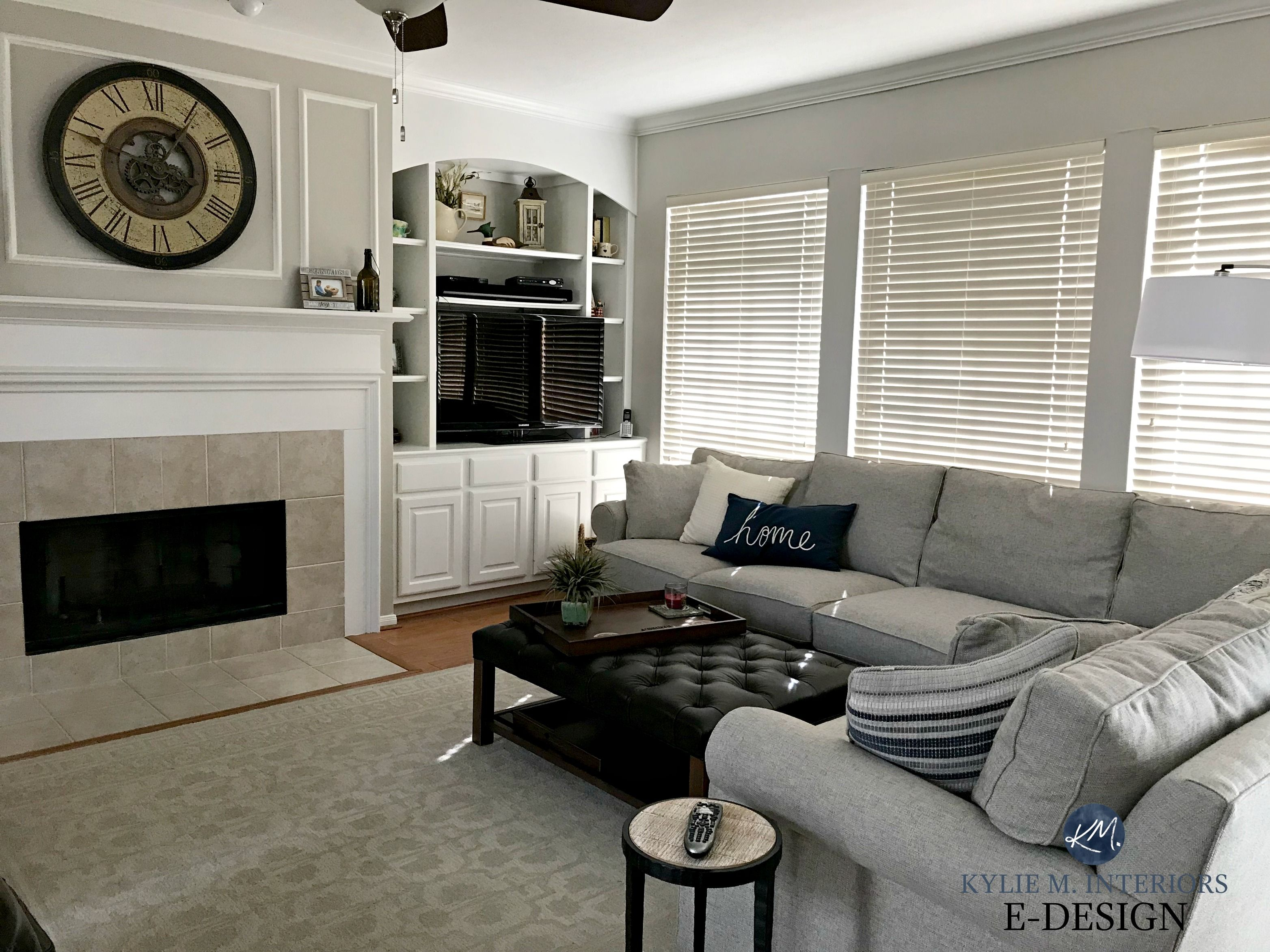 Edesign Paint Color Expert Kylie M Interiors Sherwin Williams Agreeable Gray With Gray Sectional Couch Grey Sectional Grey Sectional Couch Agreeable Gray