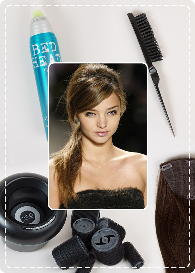 These are the tools you'll need to create Miranda Kerr's bouffant ponytail...