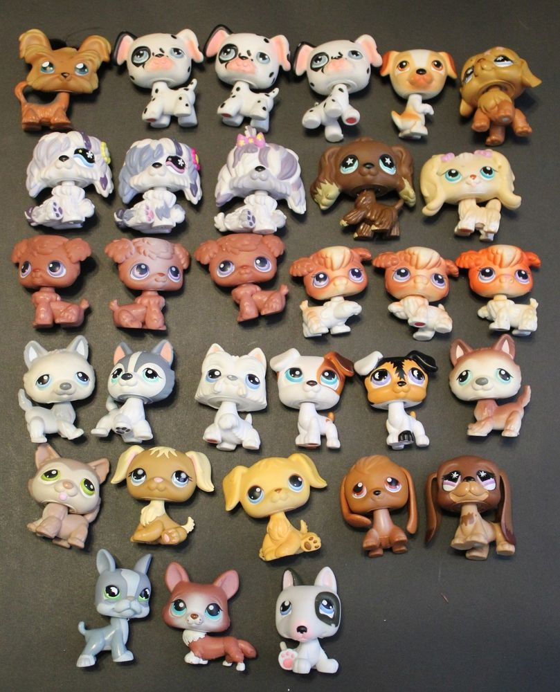 Lot Of 31 Littlest Pet Shop Dogs Collie Dalmation Beagle