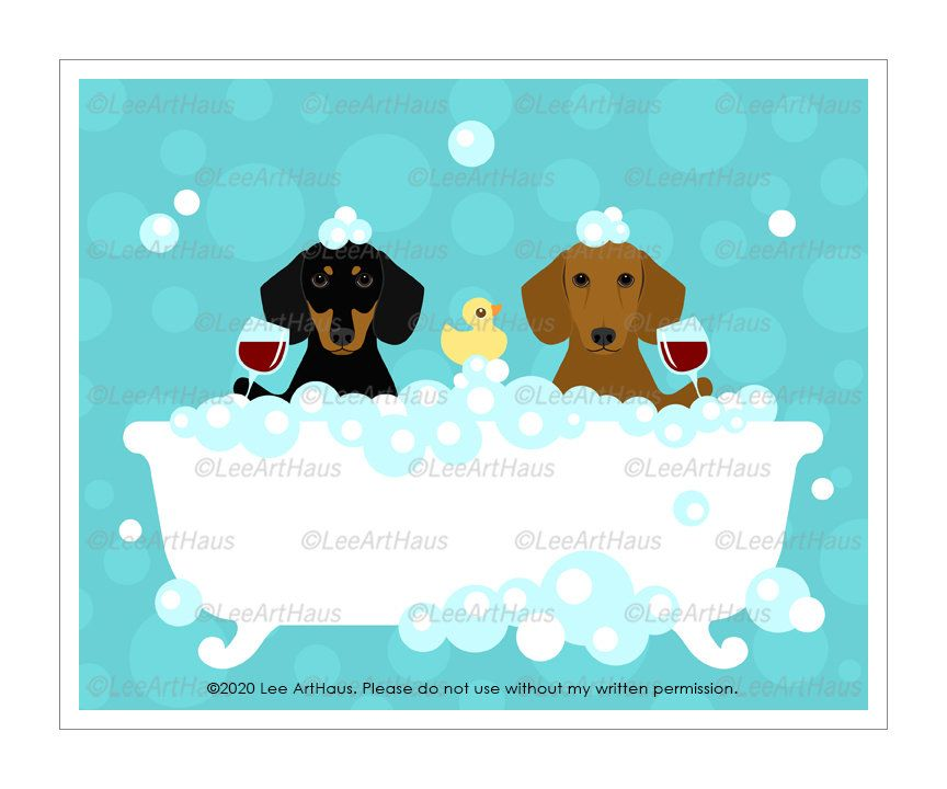 859d Bath Art Two Dachshund Dogs Drinking Wine In Bubble Etsy Bath Art Bath Wall Art Art