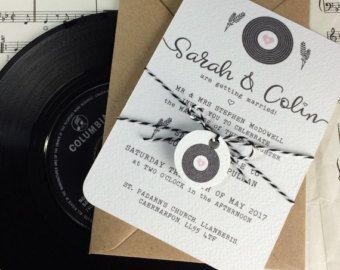 Items similar to Wedding Invitation Debbie - Vinyl Record Design - Samples available on Etsy