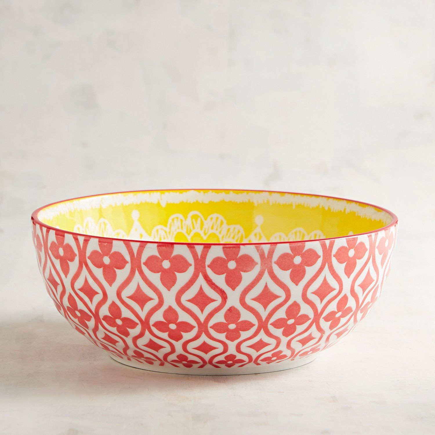 Parks Large Yellow Medallion Pad Print Bowl Pier 1 Imports Patterned Dishes Dinnerware Sets Dinnerware Patterns