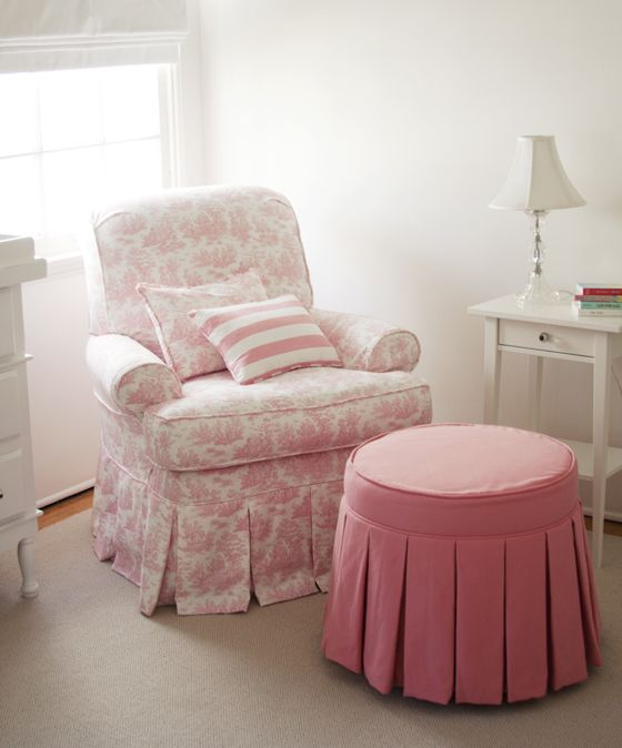 Delicieux Pink Patterned Glider With Pink Ottoman