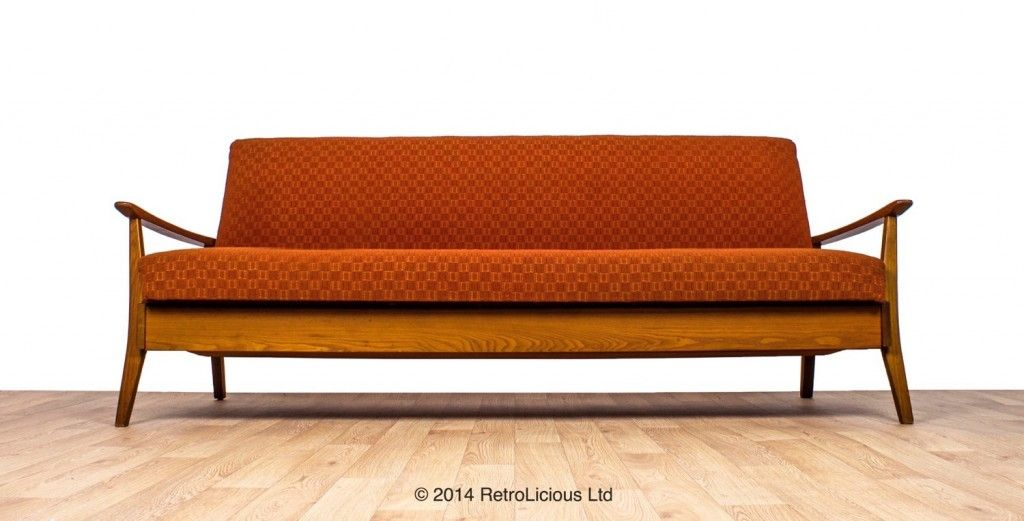 Greaves Thomas Funky Orange G Plan Teak Danish Daybed Sofabed Retro Original 595