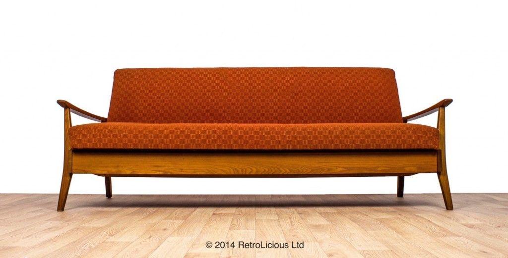 Greaves Thomas Funky Orange G Plan Teak Danish Daybed Sofabed Retro Original 595