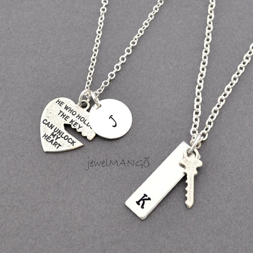 b624b16d2f key to my heart, COUPLE necklace, mr. mrs.,hand stamping jewelry ...