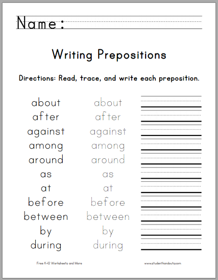 1st Grade Grammar Worksheets : Writing the top prepositions free printable worksheet