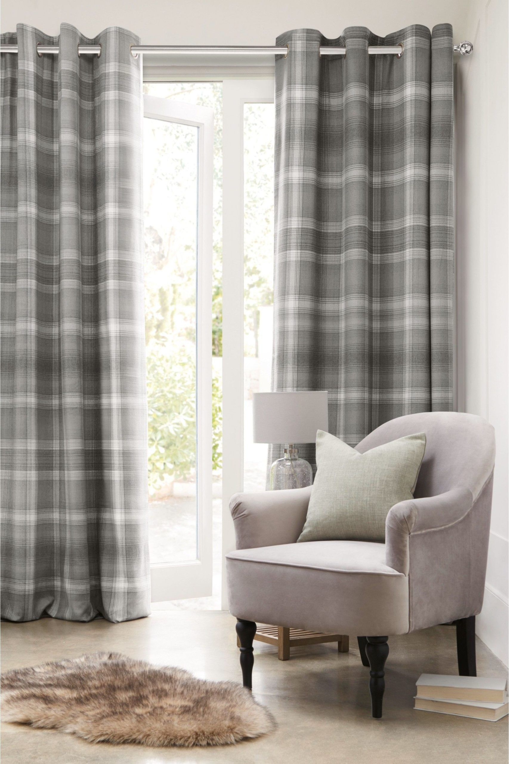 Buy Cosy Check Curtains From The Next Uk Online Shop In 2020 Grey Curtains Living Room Check Curtains Cosy Living Room