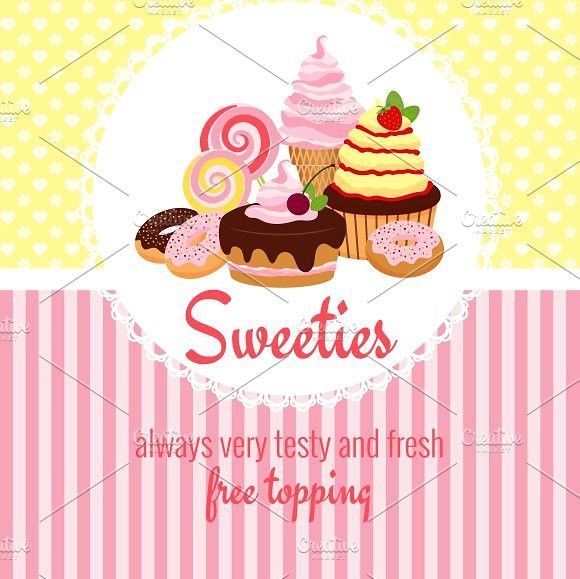 Greeting card template with sweets Greeting card template, Card - greeting card template